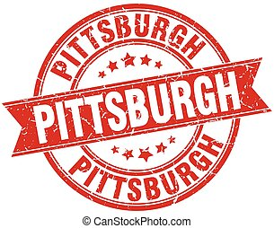 Pittsburgh red round grunge vintage ribbon stamp