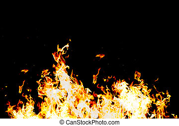 fire power - a wall of fire flames against black background