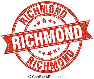 Richmond red round grunge vintage ribbon stamp