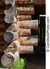 wooden log house closeup part