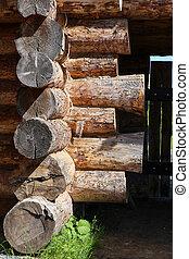 wooden log house closeup part