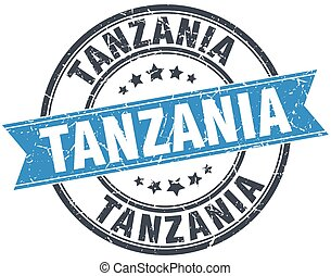 Tanzania blue round grunge vintage ribbon stamp