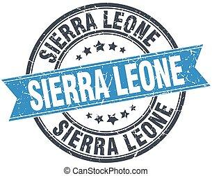 Sierra Leone blue round grunge vintage ribbon stamp