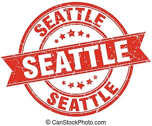Seattle red round grunge vintage ribbon stamp