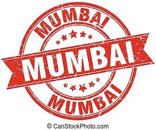 Mumbai red round grunge vintage ribbon stamp