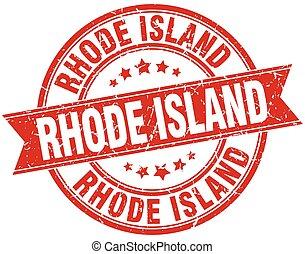 Rhode Island red round grunge vintage ribbon stamp