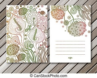 Vector set of spring cards with flowers elements. EPS10.