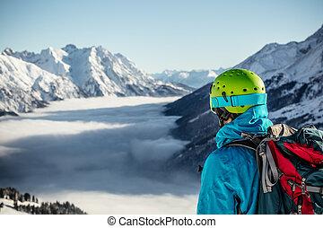 día, Durante, soleado, espalda, Esquiador