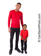 African American man with his little boy isolated on white background