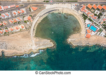 Aerial view of Murdeira city resort bay in Sal Island - Cape...