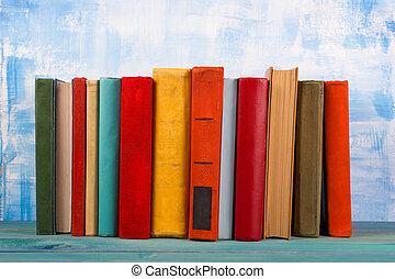viejo, tapa dura, colorido, Libros, vendimia, diario, W,...