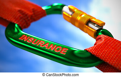 Insurance on Green Carabine with a Red Ropes - Insurance on...
