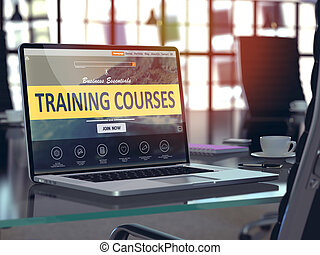 Training Courses Concept on Laptop Screen.