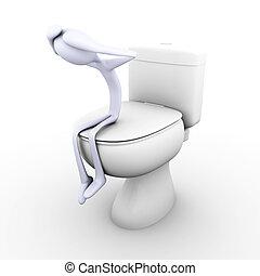 Toilet depression - 3D rendered Illustration. Being Sad in...