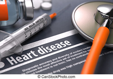 Heart disease - Printed Diagnosis on Grey Background - Heart...