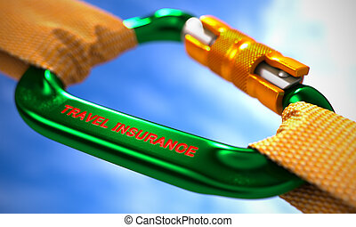 Travel Insurance on Green Carabine with a Orange Ropes -...