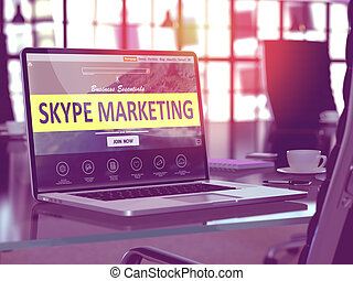 Skype Marketing Concept on Laptop Screen - Skype Marketing...