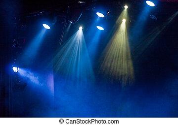 Spotlights in Blue Fog