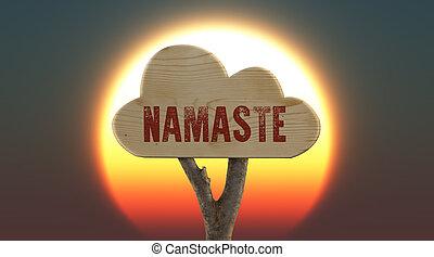 de madera,  Namaste, indicar, señal