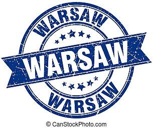 Warsaw blue round grunge vintage ribbon stamp