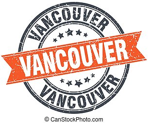 Vancouver red round grunge vintage ribbon stamp