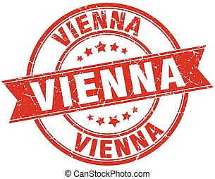 Vienna red round grunge vintage ribbon stamp