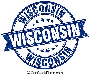Wisconsin blue round grunge vintage ribbon stamp