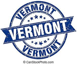 Vermont blue round grunge vintage ribbon stamp