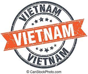 Vietnam red round grunge vintage ribbon stamp