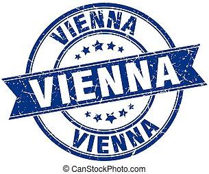Vienna blue round grunge vintage ribbon stamp