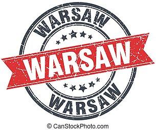 Warsaw red round grunge vintage ribbon stamp