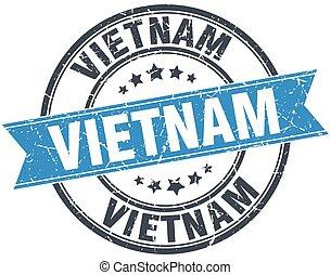 Vietnam blue round grunge vintage ribbon stamp