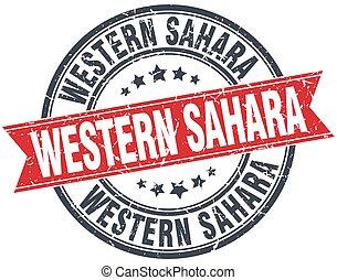 Western Sahara red round grunge vintage ribbon stamp