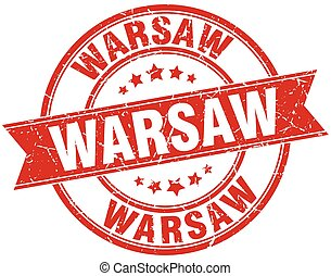 Warsaw red round grunge vintage ribbon stamp