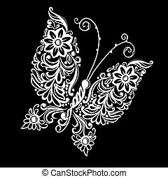 beautiful monochrome black and white butterfly.  tattoo design or mehandi.