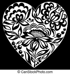 beautiful monochrome black and white silhouette of the heart floral.