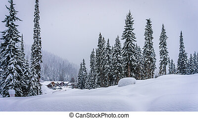 Sun Peaks Alpine Village - Winter landscape at the village...