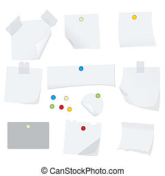 white paper - vector illustration of white paper with pins