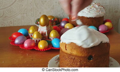 Easter holiday cake - Easter cake smeared with cream