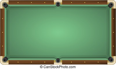 Empty green pool table - Realistic vector illustration of a...
