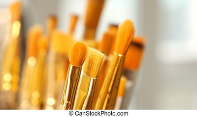 Set of paint brushes close-up Art studio concept - Artist...
