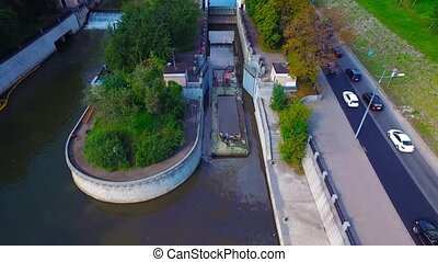 Dock and dam at Yauza river, Moscow. Video made with...