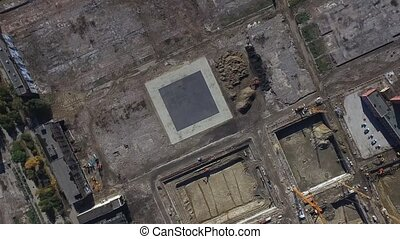 area under construction in Moscow - Aerial view of...