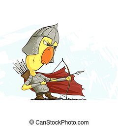 chicken archer ready to action - illustration of chicken...