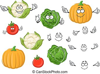 Cartoon tomato, cabbage, pumpkin and cauliflower