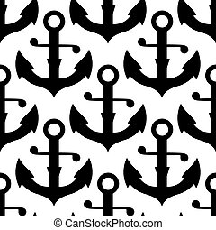 Seamless pattern of nautical black anchors - Vintage...