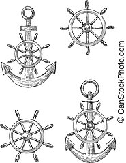 Vintage nautical anchors and helms sketches - Nautical...
