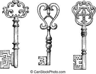 Sketch of medieval skeleton keys, adorned by victorian...