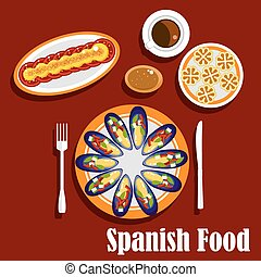 Traditional spanish seafood dishes and drinks - Traditional...