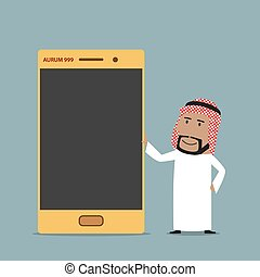 Arabian businessman with golden mobile phone - Wealth or...